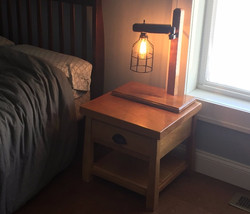 Kids Bed Table and Industrial Lamp