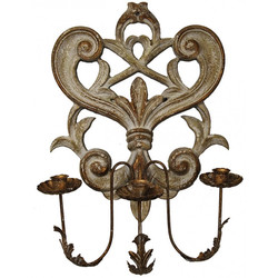 WW 009 Carved Wood Candle Sconce