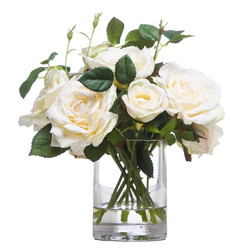 White Roses in Small Cylinder