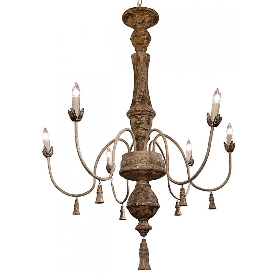 RPS1A Carved Wood Chandelier