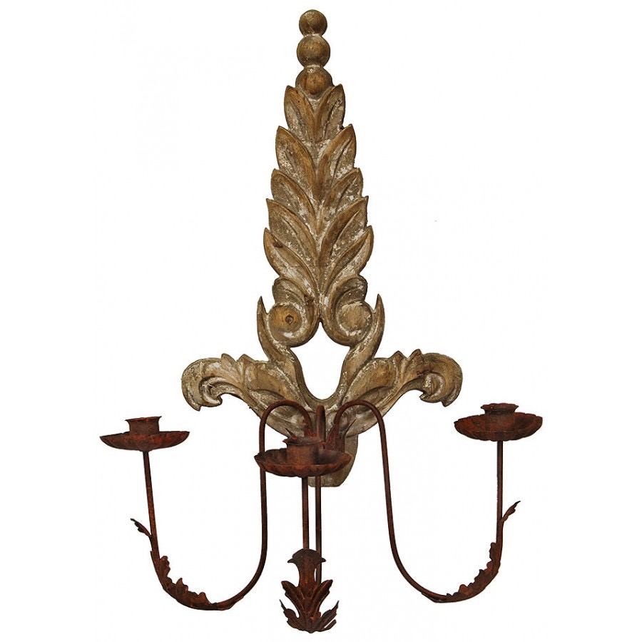 WW 03 Carved Wood Candle Sconce