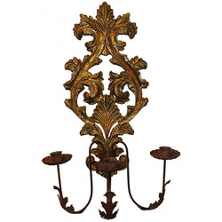 WW 08 Carved Wood Candle Sconce