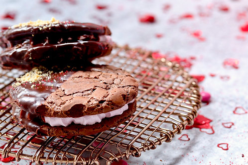 Dark chocolate cookies filled black cherry meringue and a raspberry jam center.