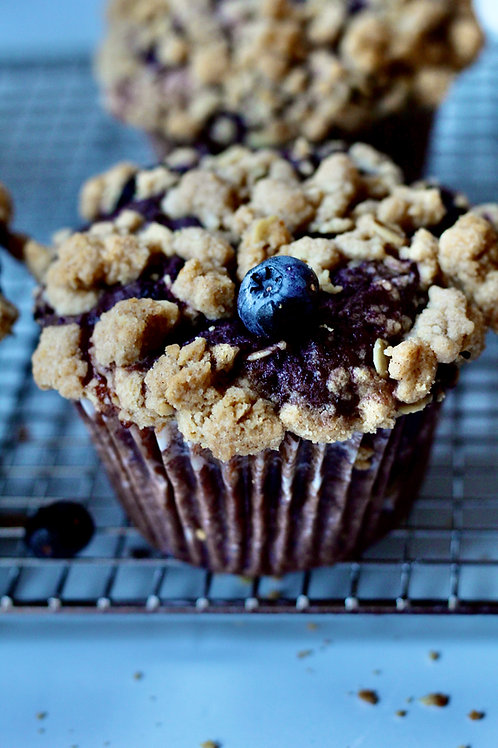 Blueberry muffin with streusel topping.