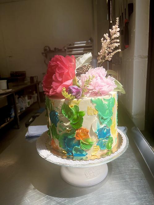 Blending flowers cake