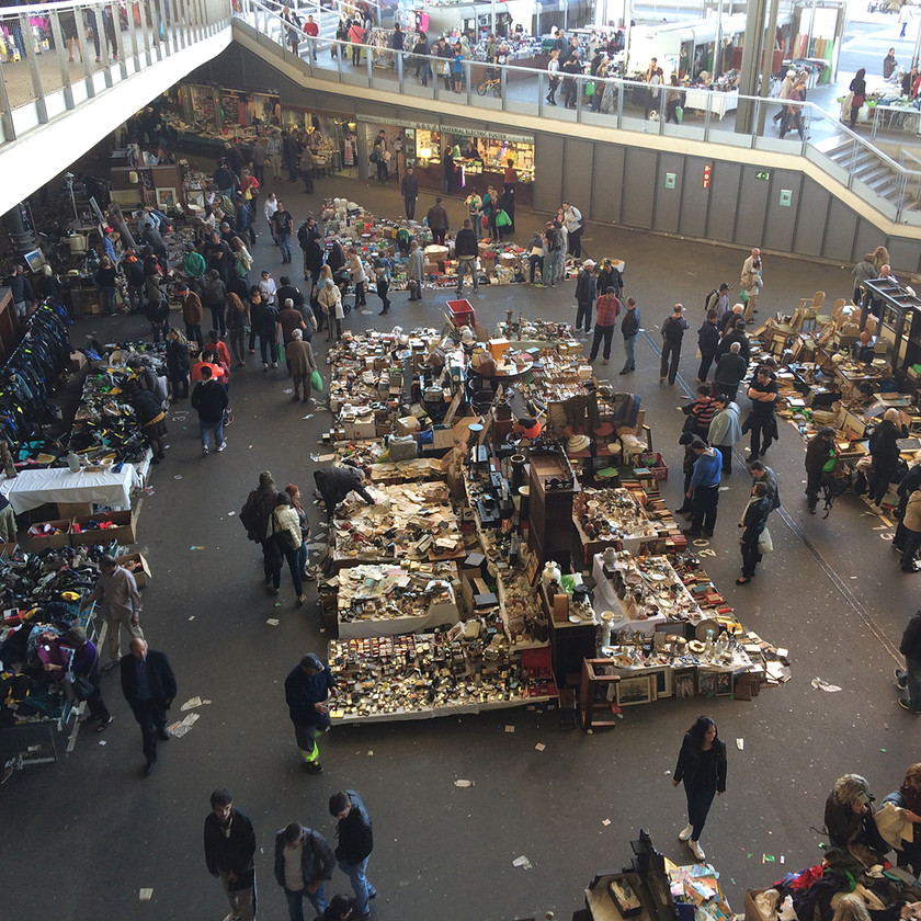 View of the new 'Encants', a long established flea market which has been rehoused in a vast piece of urban bling, celebrating yet formalising a legendary yet controversial institution