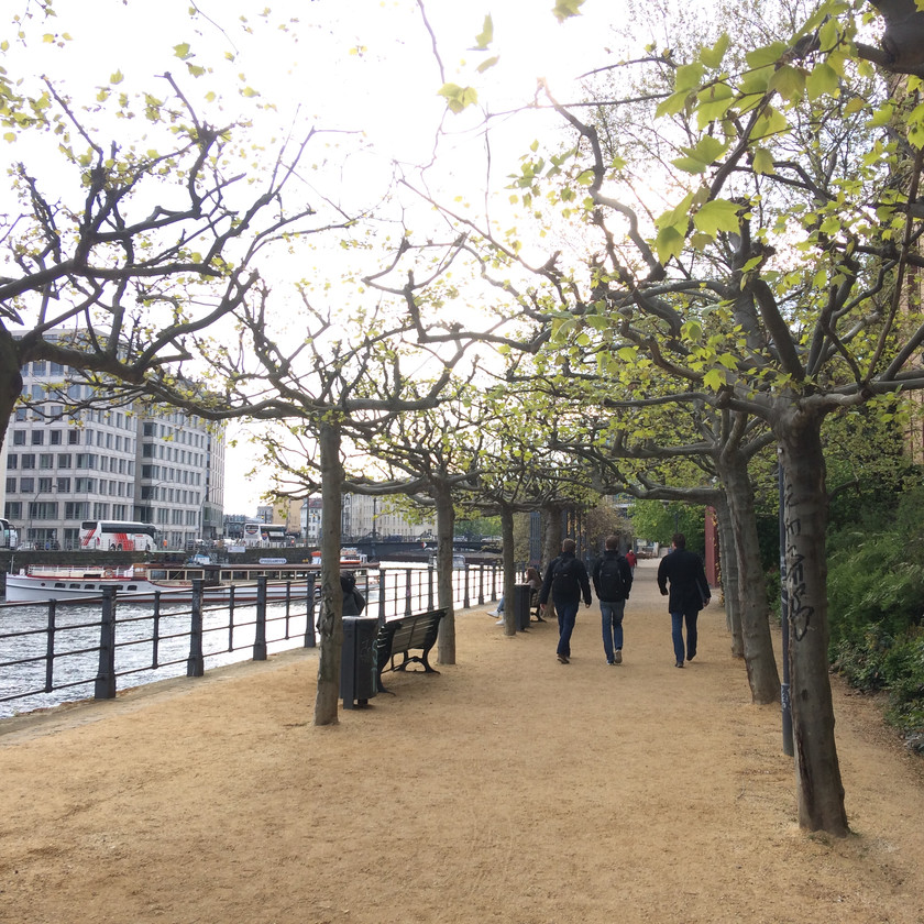 A section of the miles of riverside which have been reappropriated for public access