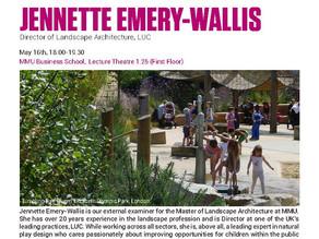 Open Lecture: Active Space, Jennette Emery-Wallis. 16/5/2018