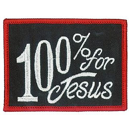 """100% For Jesus 3"""" X 2"""" Patch"""
