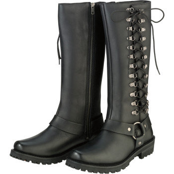 Women's Savage Black Leather Boots - Size 8