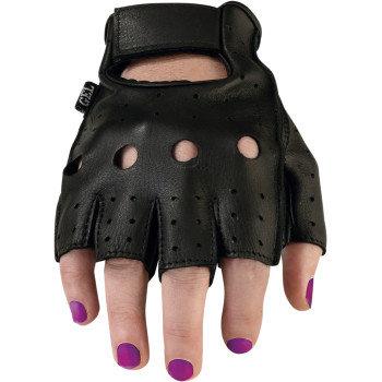 Women's Black Leather Half Gloves #243 -XL