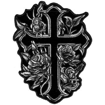 """4"""" X 5"""" Cross And Roses Patch"""