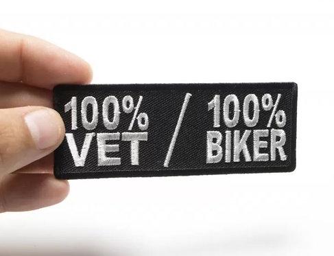 100 Percent Vet 100 Percent Biker Patch - 4x1.5 inch