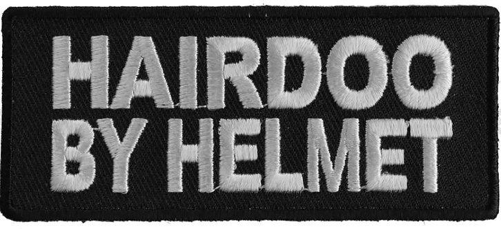 Hairdoo By Helmet Funny Lady Biker Patch - 3.5x1.5 inch
