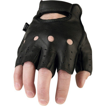 Men's Black Leather Half Gloves #243 -MD