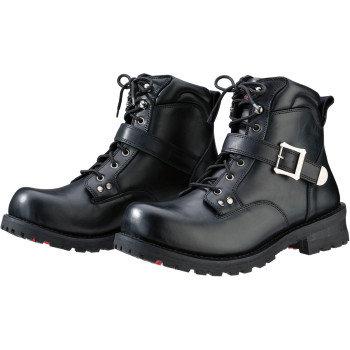 Men's Trekker Black Leather Boots - Size 10