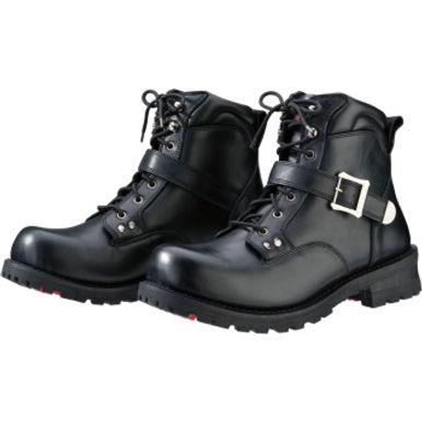 Men's Trekker Black Leather Boots - Size 8