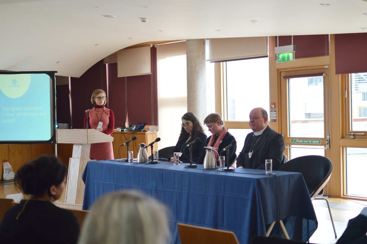 Speakers Bronagh Andrew, Lucina Hackman, and Right Reverend Derek Browning take questions.