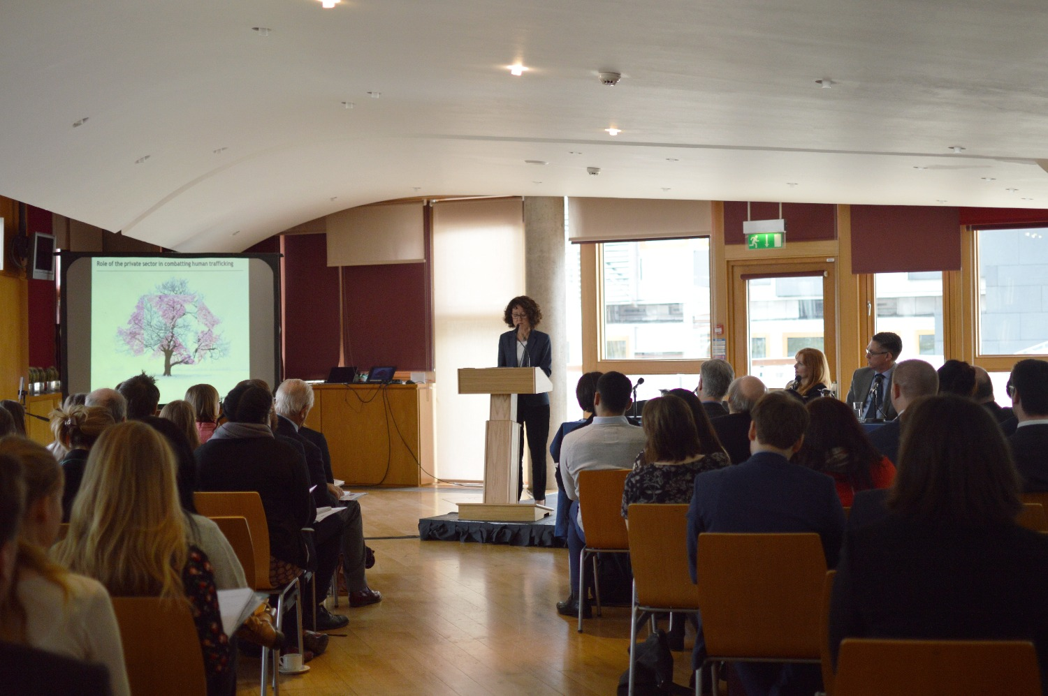 Alison McGregor, CEO of HSBC Scotland, presents on the financial sector's role in preventing and ending trafficking.