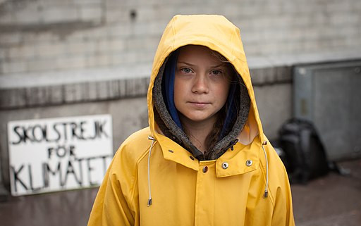 Greta Thunberg outside the Swedish Parliament, by Anders Hellberg