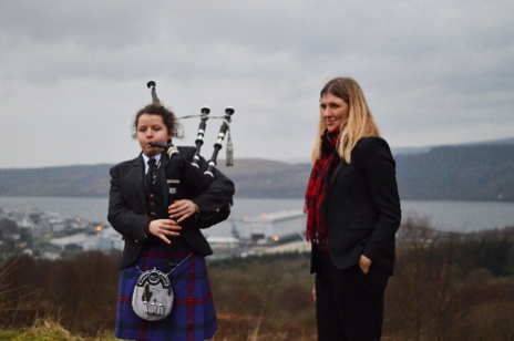 Emma, a 14-year-old piper and Beatrice Fihn, Executive Director of ICAN at Faslane