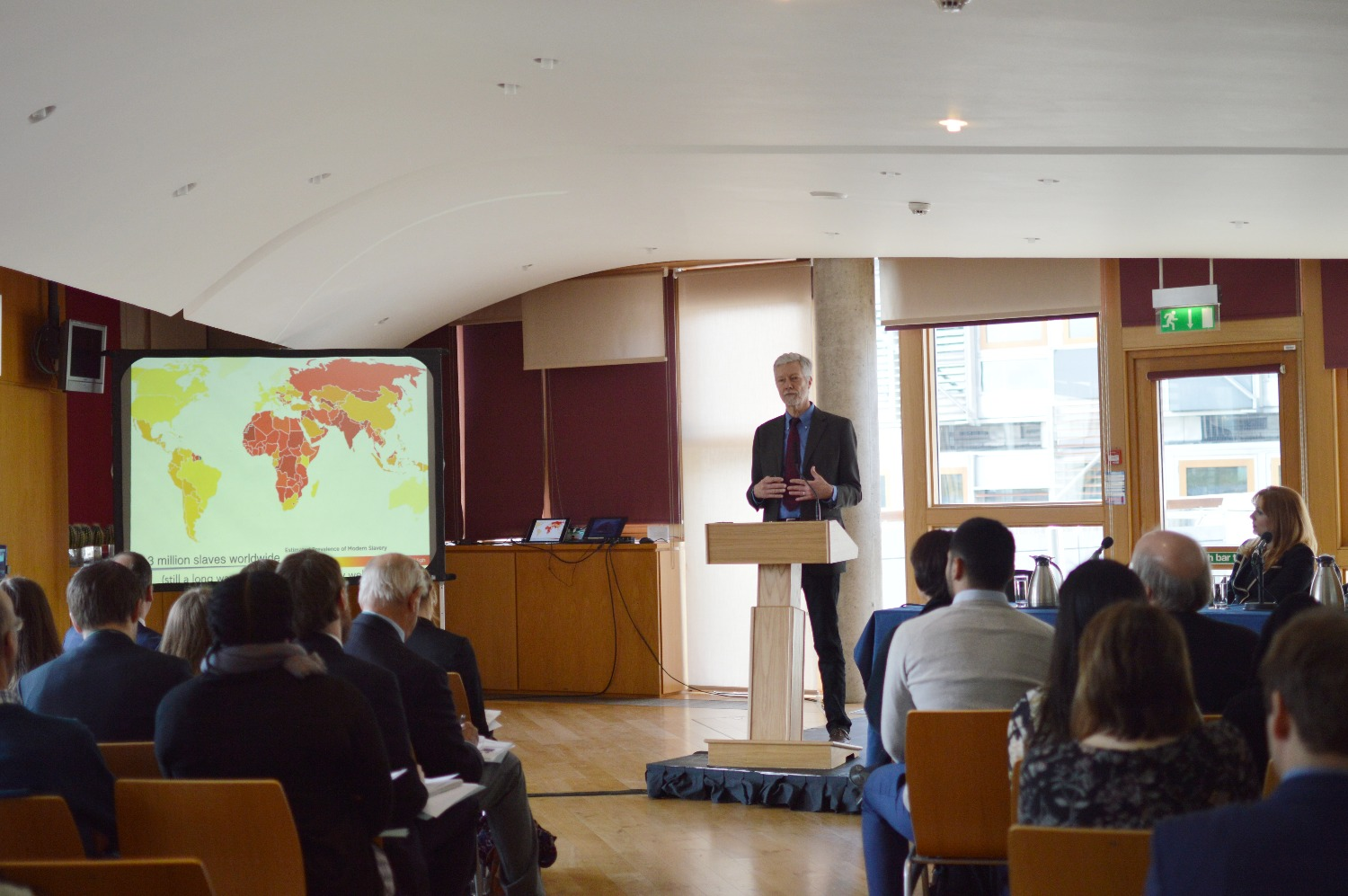 Keynote speaker Kevin Bales presents on Nottingham Uni's research on human trafficking.