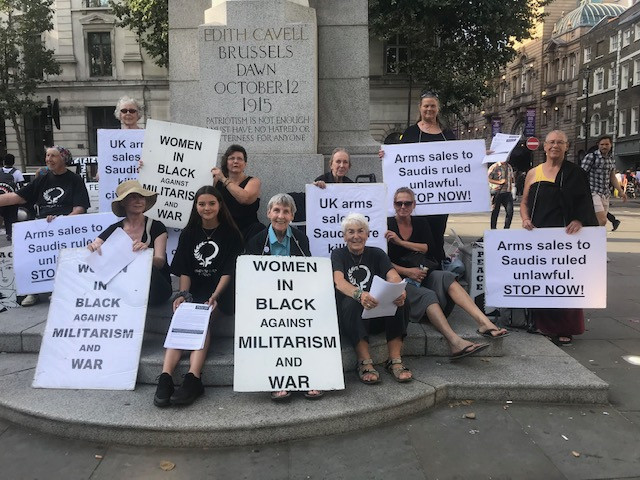 WiB vigil against UK arms sales to Saudi Arabia at the Edith Cavell statue, 24th July