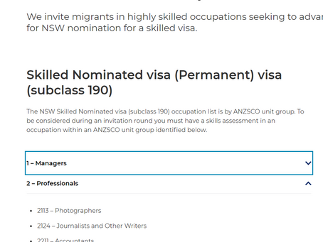 Breaking news: Skilled Occupation List for NSW is out - Accountant and many occupations
