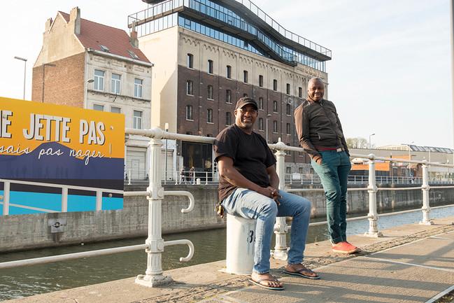 Alfa and Amadou, Quai de l'Industrie, Anderlecht, 17th of April 2020