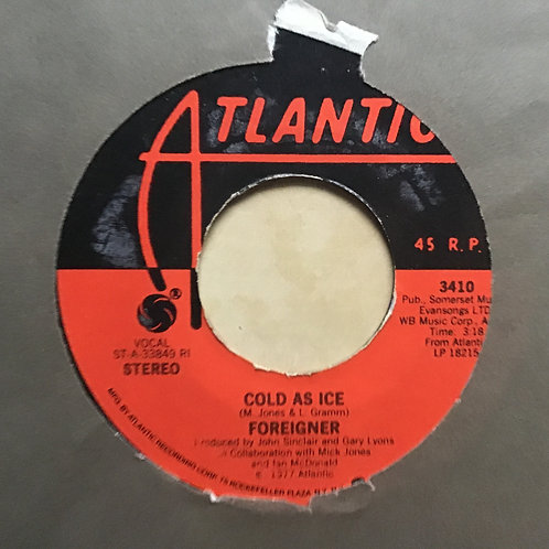 """1977 Foreigner: Cold As Ice/I Need You 45 RPM [VG+] 7"""" vinyl record Classic Rock"""