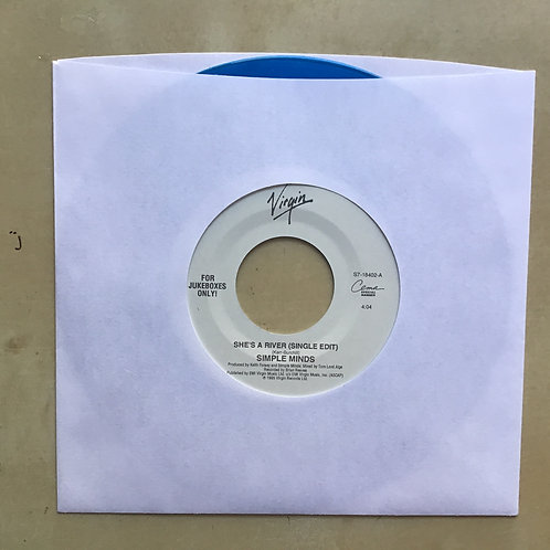 SIMPLE MINDS - SHE'S A RIVER b/w CELTIC STRINGS - VIRGIN - BLUE VINYL JUKEBOX 45