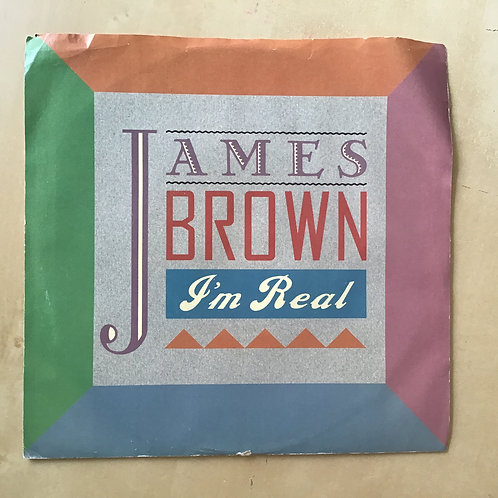 """JAMES BROWN 45 RPM W/ PICTURE SLEEVE """"I'M REAL"""" / """"TRIBUTE"""" RECORD VINYL EX"""