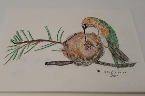 Hummingbird Nest Original Art Card #5