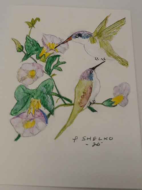 Hummingbirds White Morning Glories Original Art Card #11