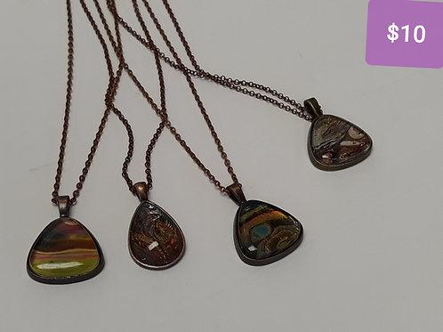 Acrylic Pour Necklaces (triangular)