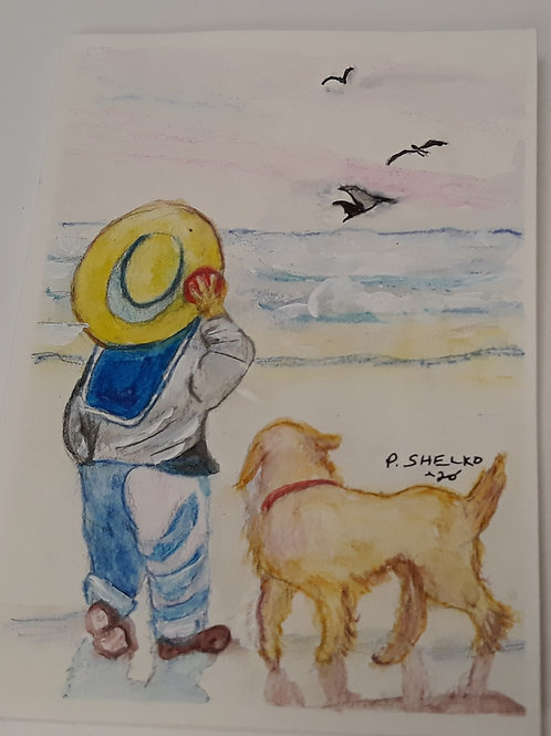 Boy and Dog by the Sea Original Art Card #21