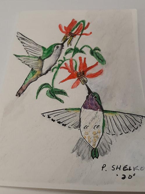 Hummingbirds Red FlowersOriginal Art Card #8