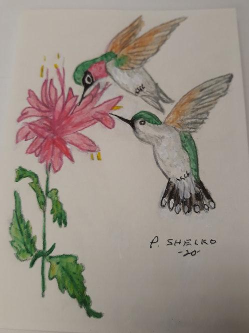 Hummingbirds Pink Flower Original Art Card #13