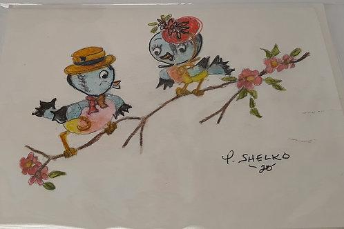 Mr. And Mrs. Bird Original Art Card #23