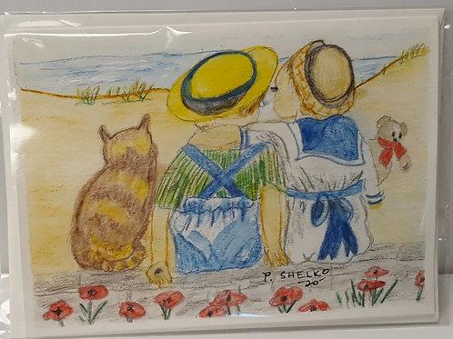 Kids, Cats, and Dunes Original Art Card #25