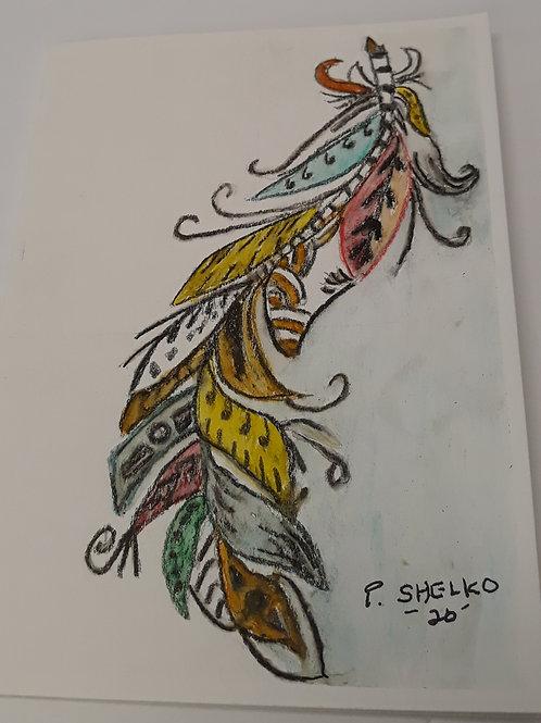 Funky Feather Original Art Card #14