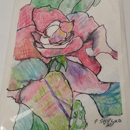 Big Pink Rose Original Art Card #22