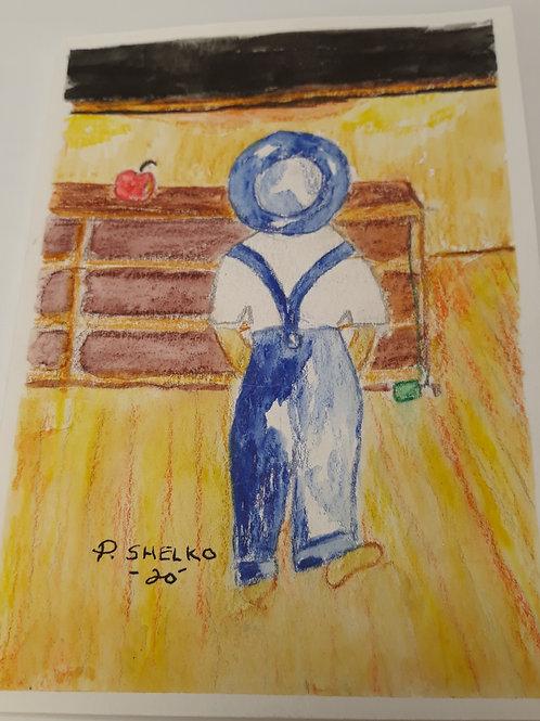 Boy Blue at School Original Art Card #20