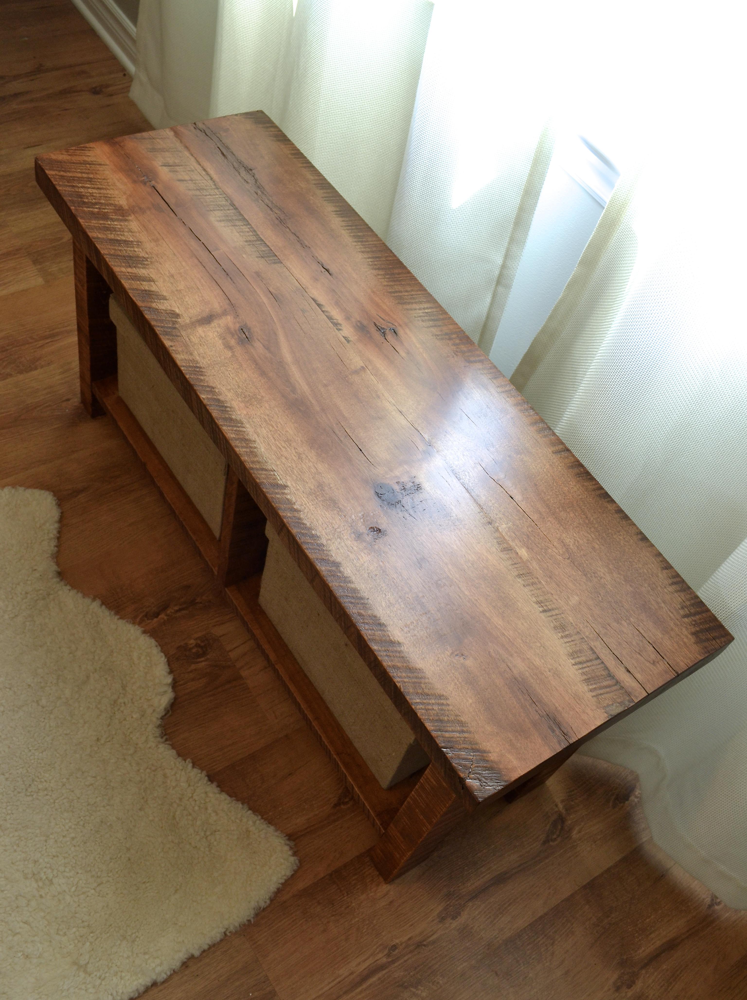 Rough-cut maple bench
