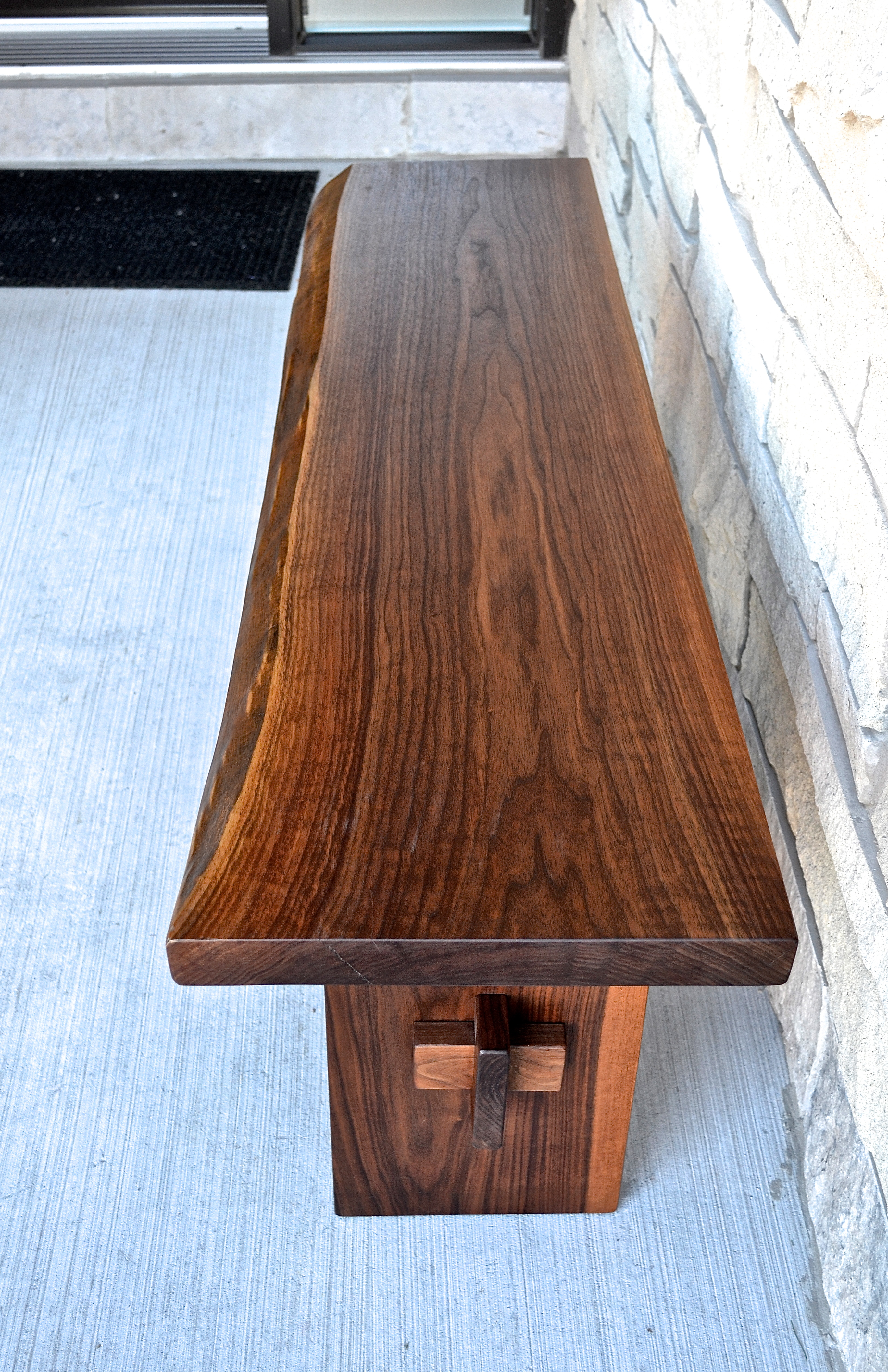 Live-edge black walnut bench