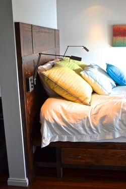 Built-in reclaimed pine bed