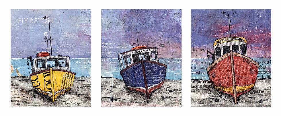 Fishing Boats Ashore, Triptych