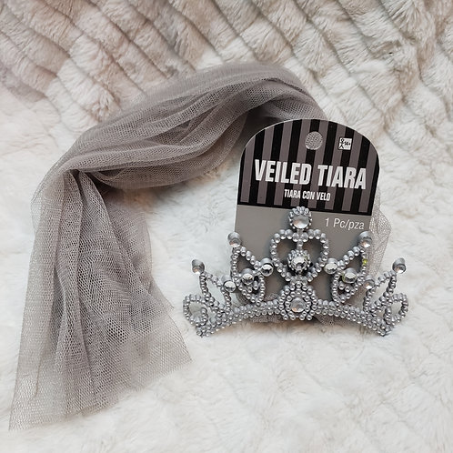 Grey Veiled Tiara