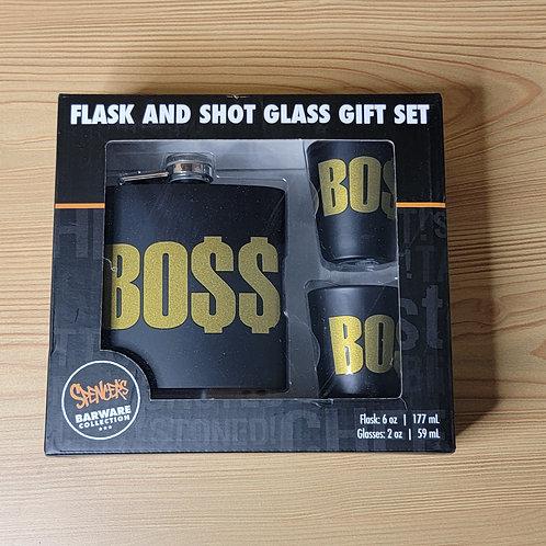 Gold BOSS Flask and Shotglass Set