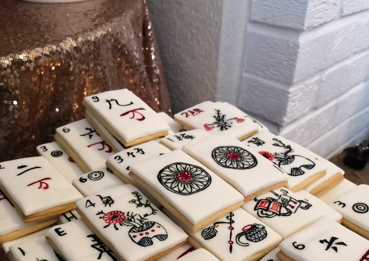 A game of Mahjong - biscuits